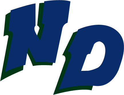 Notre Dame Academy's athletic logo, which is blue with a green outline.