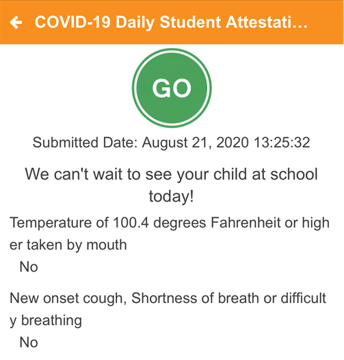 COVID-19 Daily Assessment Screenshot 4