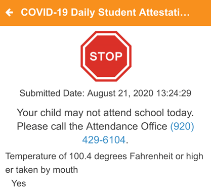 COVID-19 Daily Assessment Screenshot 5